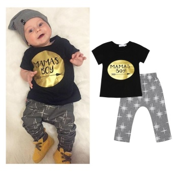 Newborn Infant Baby Boy Tops Short Sleeve T-shirt + Long Pants 2pcs Outfits Set Size:Eighty - intl