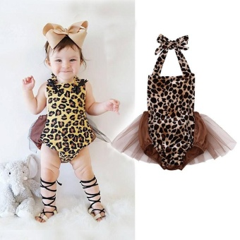 Newborn Infant Baby Girls Leopard Bodysuit Romper Jumpsuit OutfitsClothes - intl