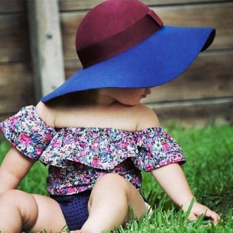 Newborn Kids Baby Girls Floral Off Shoulder Tops Shorts Outfits SetClothes 0-3T(18-24 months) - intl - 5