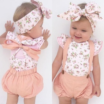 Newborn Toddler Infant Baby Girl Romper Jumpsuit Bodysuit OutfitSunsuit Clothes - intl