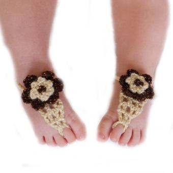 Newborn Toddlers Baby Infant Girls Handmade Crochet BarefootSandals Flower Shoes Photo Prop (Brown+Beige)