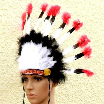 niceEshop Indian Feathers Headdress Native American Chief HeadDress for Adult and Kids Halloween Costumes Party, Black+White+Red23x14inch - intl - 2
