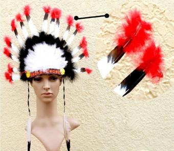 niceEshop Indian Feathers Headdress Native American Chief HeadDress for Adult and Kids Halloween Costumes Party, Black+White+Red23x14inch - intl - 3