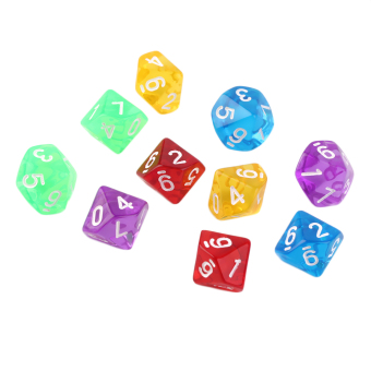 OH 10pcs/Set Games Multi Sides Dice D10 Gaming Dices Game Playing 5Color Price Philippines