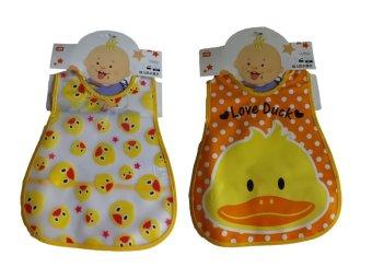 Ohana Waterproof Animal-Pattern Bibs set of 2 (Ducky)