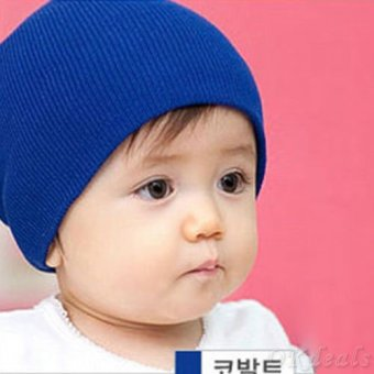 Okdeals Unisex Infant Baby Boy/Girl Soft Cotton Beanie Hat Knitted Kid Winter Warm Cap Dark Blue - intl