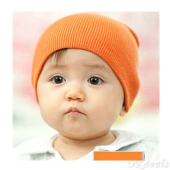 Okdeals Unisex Infant Baby Boy/Girl Soft Cotton Beanie Hat Knitted Kid Winter Warm Cap Orange - intl