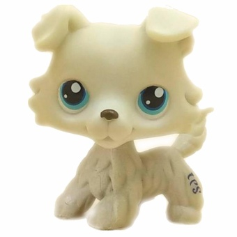 Original 1pc LPS cute toys Lovely Pet shop animal Beige Puppy Collie Dog blue eyes action figure littlest doll