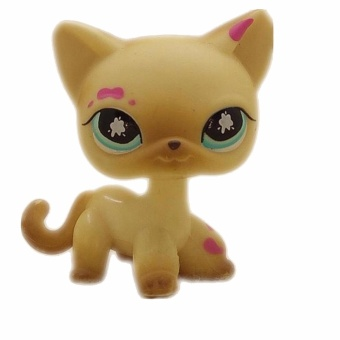 Original 1pc LPS quality cute toys Lovely Pet shop animal Small yellow cat with pink spots action figure littlest doll toys - intl