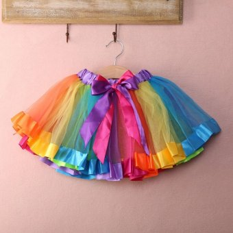 PAlight Baby Girls Rainbow Tutu Skirt Party Costume Fancy Tutu Pettiskirt - intl