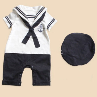 PAlight Navy Sailor Style Baby Rompers Toddlers Bodysuit with Hat (White)
