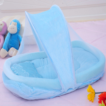 PAlight Portable Foldable Baby Crib Mosquito Net Set (Blue)