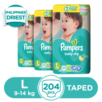 Pampers Baby Dry Diaper L (61+FREE 7)s - 3 Packs