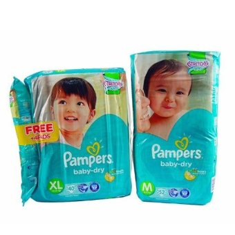 Pampers BB Dry 40's (XL) with Pampers BB Dry 52's (M) Price Philippines