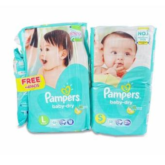 Pampers BB Dry (S) 58's, Pampers BB Dry (L) 46's 694742 Price Philippines