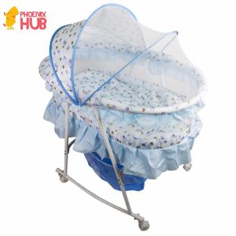 Phoenixhub Baby carriage Multifunctional Baby Cradle Bed CribRocker baby Bed with Large Storage Basket BLUE