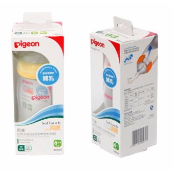 pigeon wide-neck PP bottle with soft touch nipple 240ML