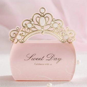 Pink 50pcs/lot Gold Foil Crown Shiny Candy Box Wedding InvitationDecorations Bridal Favor Gifts Valentine's Day Supplies JK176 -intl