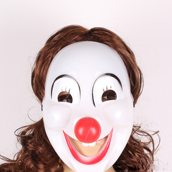 Plastic Women Clown Mask Prop for Halloween Costume Party