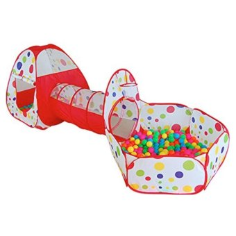 Polka Dot 3 in 1 Folding Kids Play Tent with Tunnel, Ball Pit andZippered Storage Bag Price Philippines