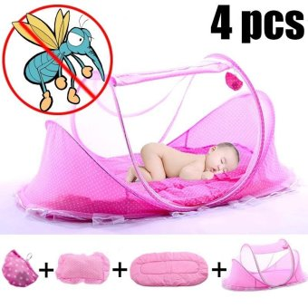Portable Baby Travel Bed Folding Tent Crib Mosquito Net BeddingBlue - intl
