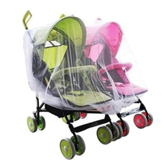 Portable Universal Twin Baby Stroller Mesh Mosquito Net Cover Preventing Bee Insect Bug for Tandem Side by Side Strollers Pushchairs - intl