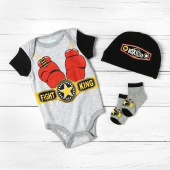 Pure Baby Boys Fight King Onesie Set (Gray) Price Philippines