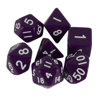 Purple 7 Sided Die D4 D6 D8 D10 D12 D20 DUNGEONS&DRAGONSD&D RPG Dice Game Set