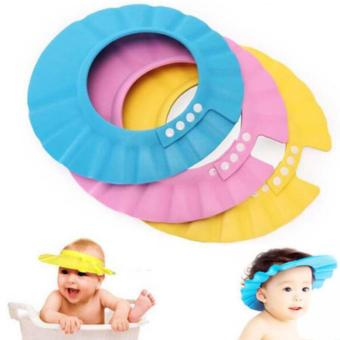 PVC adjustable soft baby shampoo shower cap baby care bath protection children hat bath shade adjustable - intl