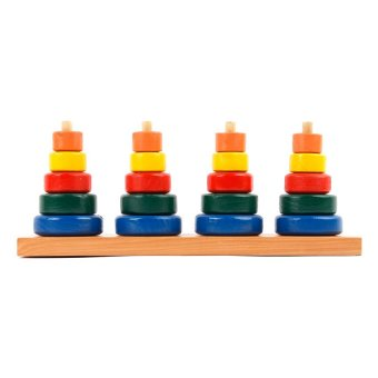 Rainbow Stacking Towers Wooden Toy (Multicolor)
