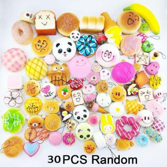 Random 30pcs Jumbo Medium Mini Soft Squishy Cake/Panda/Bread/Buns Phone Straps - intl