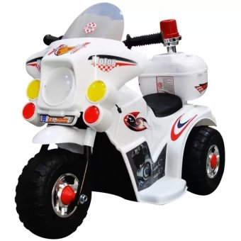 Rechargeable electric three-wheeled motorcycle children ride-ontoys(White)