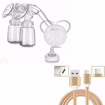RH228 Mother Manual Double Electric Breast Pump (White) WITH CableWire Connector for iPhone and Android 2in1 (Gold)