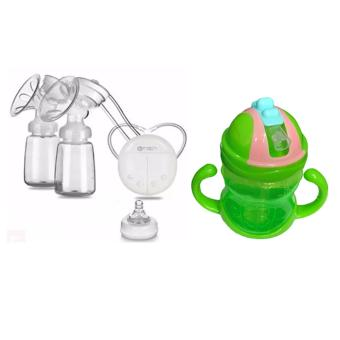 RH228 Mother Manual Double Electric Breast Pump (White) With DoubleDandle Baby Children's Leakproof Plastic Kettle Sippy Cups ChildrenDrink Bottle
