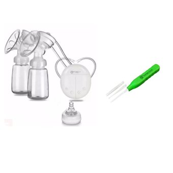 RH228 Mother Manual Double Electric Breast Pump (White) With EarPick Wax Remover Curette Earpick Green with LED Light
