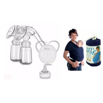 RH228 Mother Manual Double Electric Breast Pump (White) With EcoCub Moby Baby Wrap Carrier for Comfortable Baby Wearing (Blue)