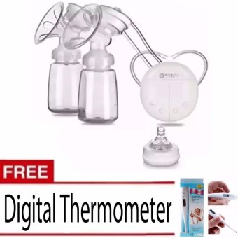 RH228 Mother Manual Double Electric Breast Pump (White) With Free Digital Thermometer(White)