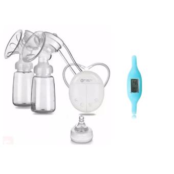 RH228 Mother Manual Double Electric Breast Pump (White) With LCDDigital Small Rectangle Dial Anion Silicone Band Student ChildrenBracelet Watch