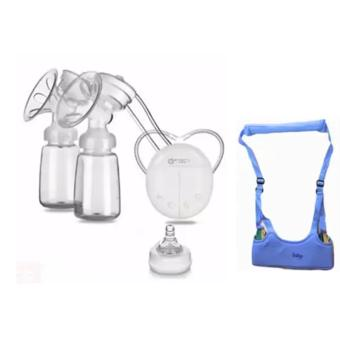 RH228 Mother Manual Double Electric Breast Pump (White) With MoonBaby Safe Learning Walker (Multicolor)