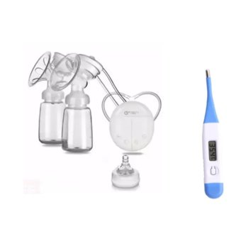 RH228 Mother Manual Double Electric Breast Pump (White) WithDigital LCD Soft Head Thermometer With Beeper