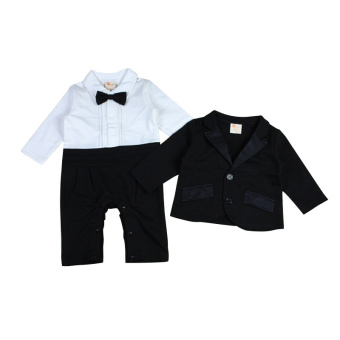 Rorychen Baby Boys 2PCS Gentleman Suit: Semiformal Romper + Coat - 3