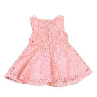 Rorychen Baby Kids Girls Sleeveless Flower Lace Dress(Light Pink) - 3