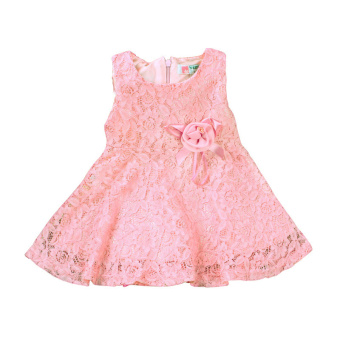 Rorychen Baby Kids Girls Sleeveless Flower Lace Dress(Light Pink) - 2