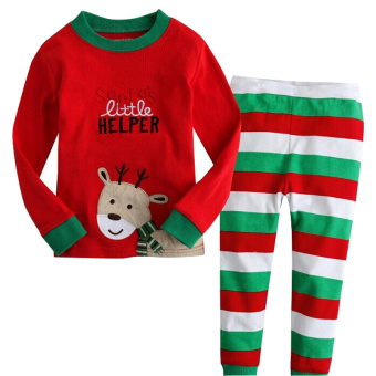 Rorychen Kids Unisex Christmas Deer Pajamas 2PCS Set: Top + Pants - Intl