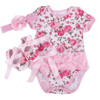 Rose Flower Newborn Baby Girls Romper Tutu Dress Jumpsuit Outfits Clothes - intl - 2