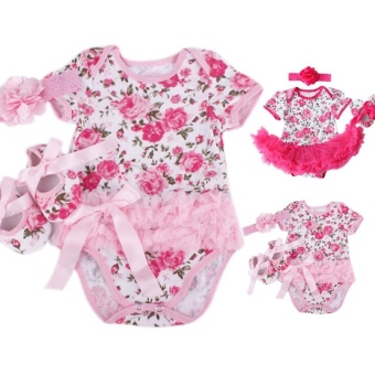 Rose Flower Newborn Baby Girls Romper Tutu Dress Jumpsuit Outfits Clothes - intl - 3