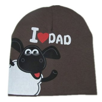 S & F Baby Hat Knitted Warm Cotton I LOVE DAD Pattern Coffee - Intl