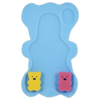 Safe Baby Shower Bath Seat Infant Non Slip Soft Pad Mat BodySupport Cushion Sponge Blue - intl