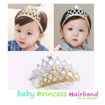 Set Of 2 Baby Infant Crown Hair Bands Photography Headband -Gold/Silver