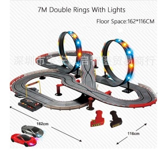 Sets of 7M Track Length Double Ring Lights On Slot Racing TrackTrack Racing Box Train Track Racing Car Baby Toy - intl